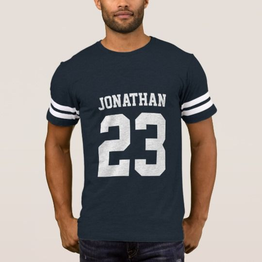 Create your own personalized football jersey men's T-shirt with custom name and number.  #jersey #sport #number #mens #tshirt #custom #personalized