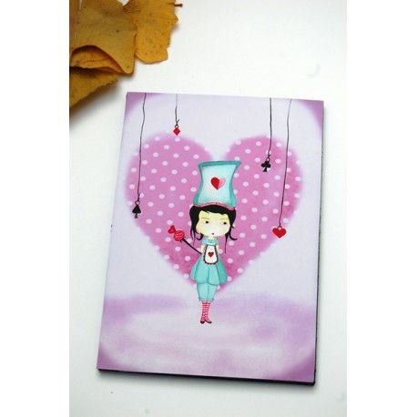 """Print of the original drawing. Title: """"The Royal Guard of hearts"""" Size : mini print   10x14 cm     Print details :Printed on high quality artist paper ."""