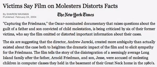 NY Times article - Victims speak out against director Andrew Jarecki, who distorts facts in film