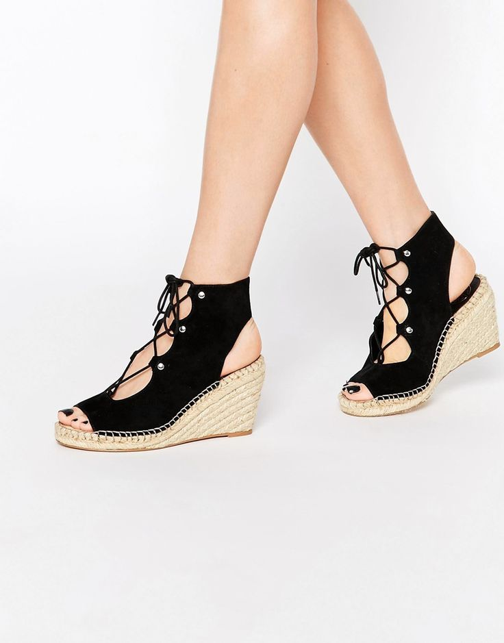 Shop KG By Kurt Geiger Marine Black Suede Wedge Sandals at ASOS.