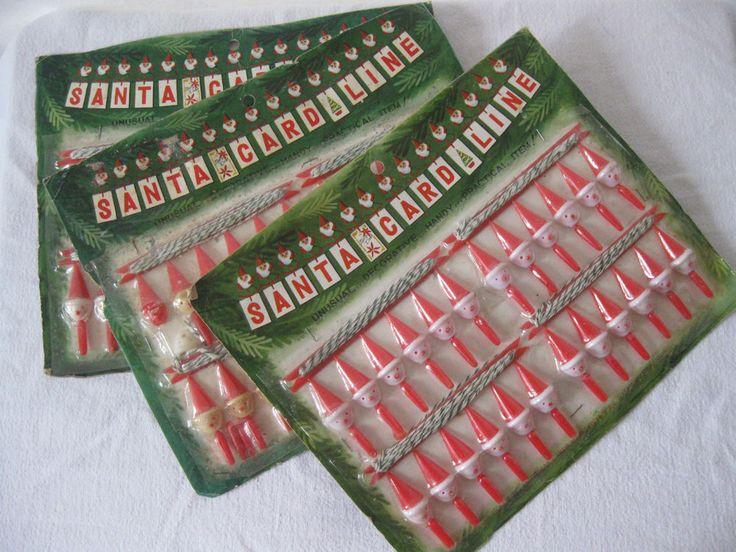 Plastic Santa Christmas Card Holder Display 3 Pkgs VTG 60s NOS Plastic Line