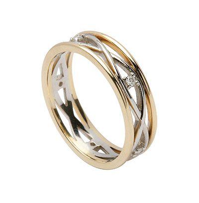 Celtic Wedding Rings: Women's Infinite Weave Band with Diamonds
