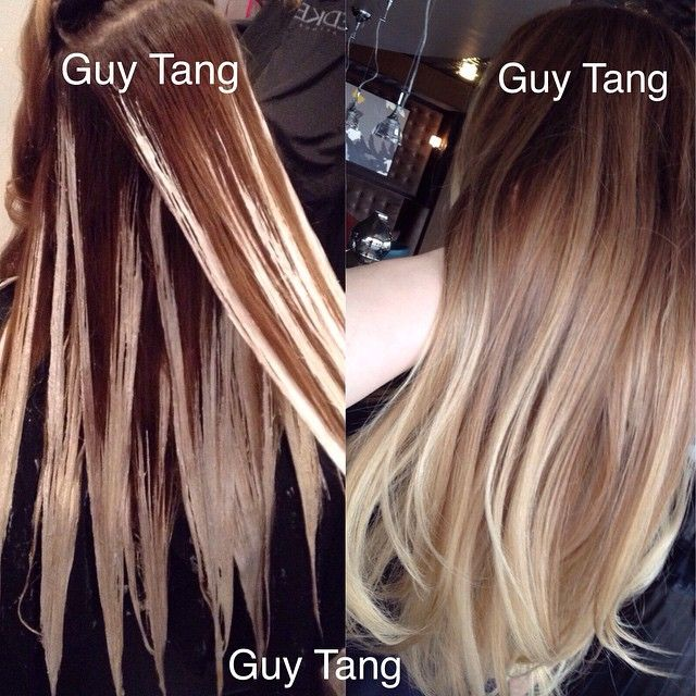 This is an example of what I call a graduated balayage ombre! The more I reapply the lightner, the hair becomes stonewashed and lived in , blonder, brighter and natural! I find that the hair gets blonder after each visit making a natural and graduated transition.
