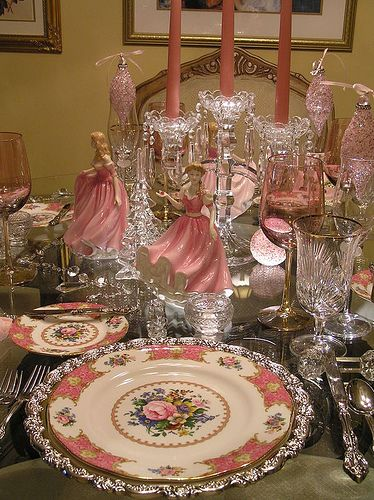 Pink Porcelain and Crystal Table Setting for Christmas! Lovely in Candlelight.
