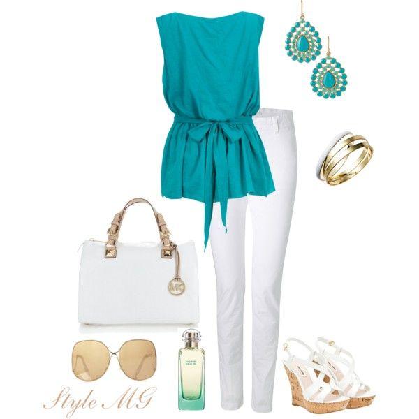 Aqua fresh and pretty: Dressy Outfits For Woman, Skinny Jeans, Aqua Blue, Michael Kors Purses, White Pants, Stylish Outfits For Summer, White Jeans, Summer Colors, Aqua Fresh