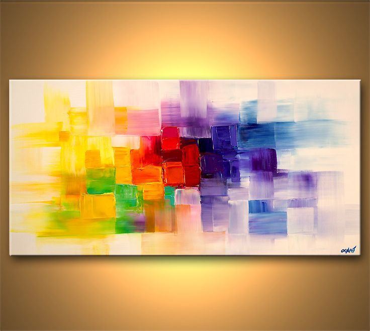 Iarts Contemporary Paintings On Canvas 3 Styles Canvas: Colorful Modern Abstract Palette Knife
