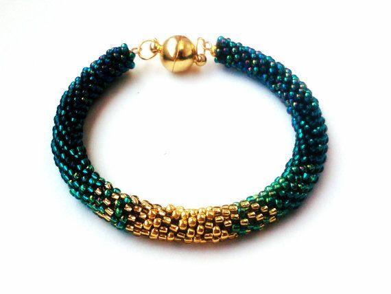 Green Ombre Bracelet  Shine Bracelet Beaded by DeerestJewelry