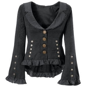 Pyramid Collection has some plus-size clothes that can be everyday wear but also look kind of steampunk and cool.