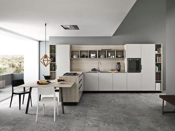 Fitted kitchen with handles ARIEL 01 by CESAR ARREDAMENTI | design Gian Vittorio Plazzogna www.gelosaarredi.it www.gelosaarredi.com www.interiordesignitaly.com #interiordesignitaly #italianfurnishings#italianfurniture#Kitchen #design
