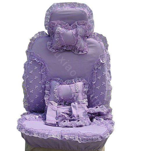 purple seat covers | Bud silk Lace Car Seat Covers sets - Purple EB003