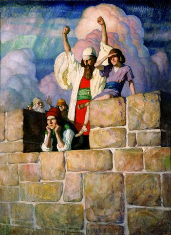 """VIII 'The Assyrians had camped on the plains beyond the walls, and the whole city was paralyzed with fear. Only Isaiah was unterrified. In majestic calm he stood and hurled his defiance at the enemy' aka 'Prophet Isaiah and Sons; The Sons of the Prophet Isaiah' 1929 - N.C.Wyeth-o/c, 42 x 32 in.-  Nat Wyeth Fritsche- Color illustration p. 67, Bruce Barton, """"Children of the Bible, Part VIII: The Sons of the Prophet Isaiah,"""" Good Housekeeping, vol. LXXXIX, no. 2 (Aug. 1929)"""