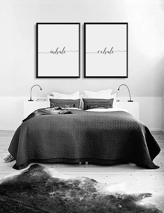 Inhale Exhale Print, Bedroom Decor, Wedding Gift, Wall Art, Wall Decor, Minimal Print, Couple Print, Fashion Print, Set Of 2 Bedroom Prints