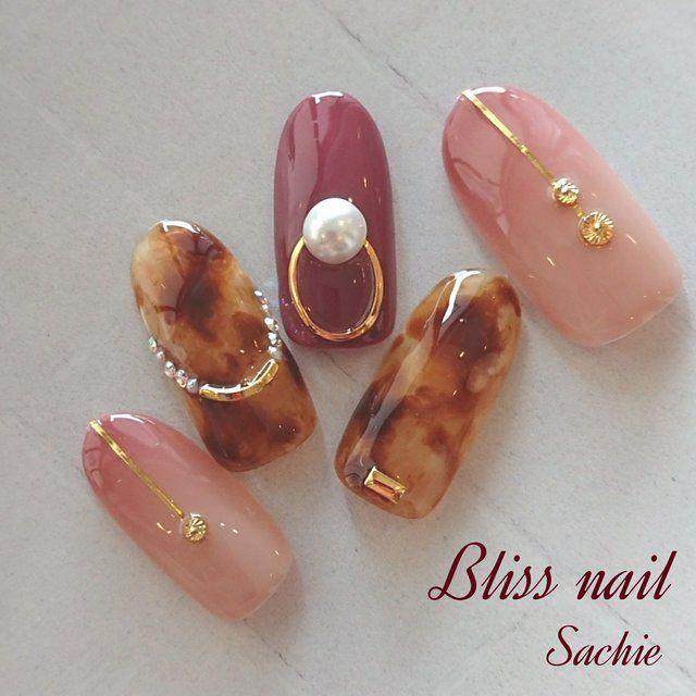秋/冬/パーティー/女子会/べっ甲 , Bliss☆Sachiのネイル