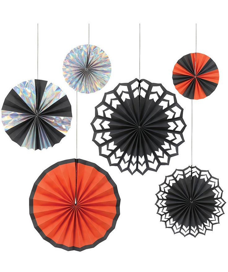 Hang these from your ceiling or against a wall to set an eye-catching scene. Each pinwheel in the pack has different details, from silver holographic foil to cutouts.