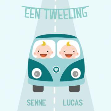 Geboortekaartje tweeling jongens in VW bus
