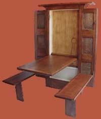 Great space saver.....Murphy Table, table version of a Murphy Bed! �