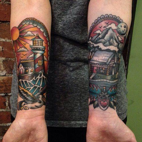 Cabin Tattoo by Matt Houston