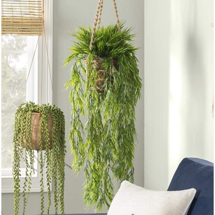 37 Artificial Bamboo Plant In Basket Hanging Plants Hanging Plants Diy Hanging Plants Indoor