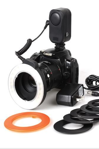 Reg. price - $99 This Universal Ring Light is prefect for close up Macro shots and can constantly emit light and provide permanent lighting for subjects. With the LED lamp mode controller, you can adj