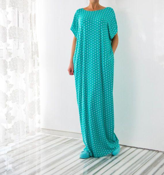 Turquoise Polka Dot Maxi Dress Polka Dot by cherryblossomsdress