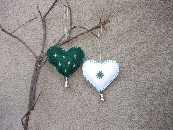 Christmas felt ornaments are made from high quality felt and hand made, hand cut as well hand sewn and hand embroidered with loving and caring. A silver belt makes cherry sound on Christmas tree or door whenever you touch lightly. The dimension of the heart is about 3 x 2 3/4 inches #feltornaments