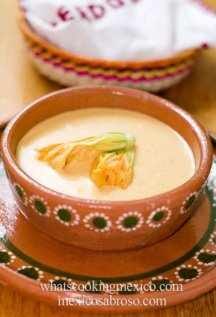 Sopa de flor de calabaza y maiz. A soup that uses two very Mexican ingredients: corn and squash blossom.