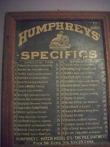Antique Humphreys Specifics Apothecary Medicine Cabinet