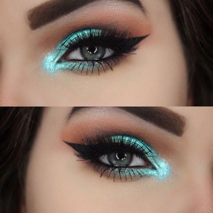 Türkis Augen Make-up #Makeup #Türkis #Besteyemakeup