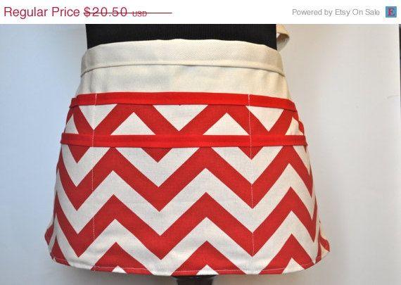 ON SALE Chevron utility Apron Women's Vendor Apron, Red Chevron Apron, Teacher apron.  Ready to ship.