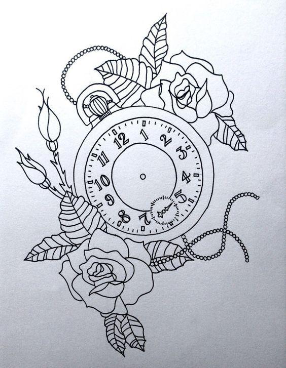 Pocket-Watch Line Drawing Print 17 x 13cm Printed by DotworkOrange: