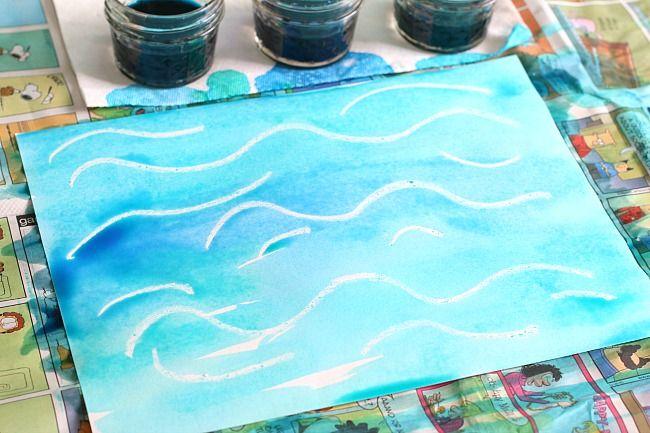 oceánu umění pro děti s využitím tekutého akvarel