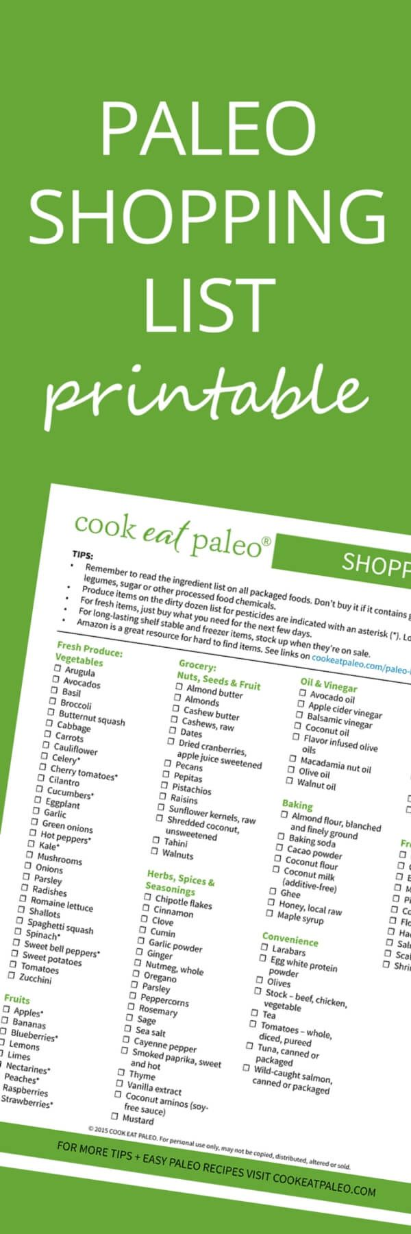Free Printable Paleo Shopping List with everything you need to stock your pantry... plus tips on ingredients to avoid and what to buy organic.