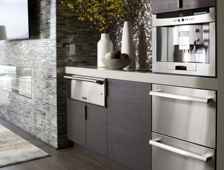 9 Examples Of Kitchens With Built In Coffee Machines // The Dark Wood  Cupboards And The Stainless Steel Appliances, Including The Built In Coffee  Machine, ...