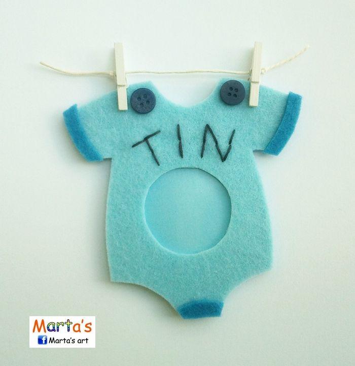 felt fridge magnet as a photo frame for a baby boy