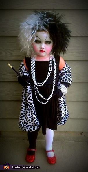 """""""Cruella DeVil Costume - They do NOT make that costume for small children soo I put the pieces together myself by studying scenes from the movie. I found the dalmation print and my great friend at Bees Bowtique made the wrap for me! She was a total hit and it was soo much fun to do together!"""" Said someone this is awesome!"""