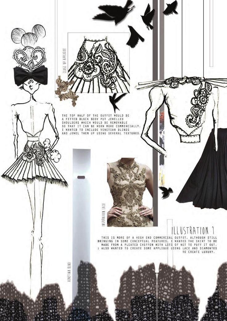 Fashion Sketchbook - whimsical fashion illustrations & embroidery research; fashion portfolio // Chloe Jackson