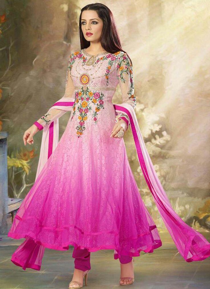 Hot Pink Embroidered Anarkali Suit