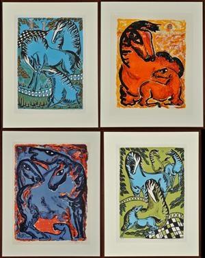 Vibeke Alfelt: 5 litografier, nummererede og signerede. 54x39 - 66 x 49 cm.  Vurdering: 1.500. Lauritz.com