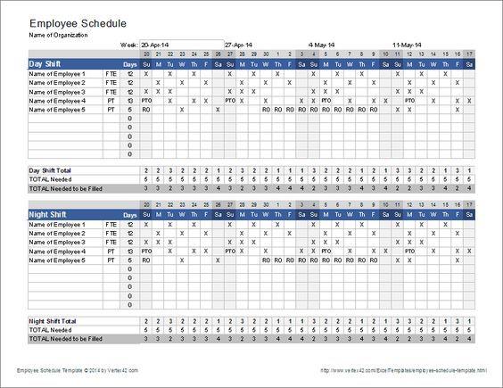 Download the Employee Schedule Template from Vertex42.com