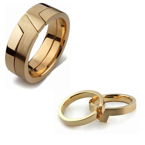 Puzzle Ring Store. 14k yellow gold 2 band puzzle ring