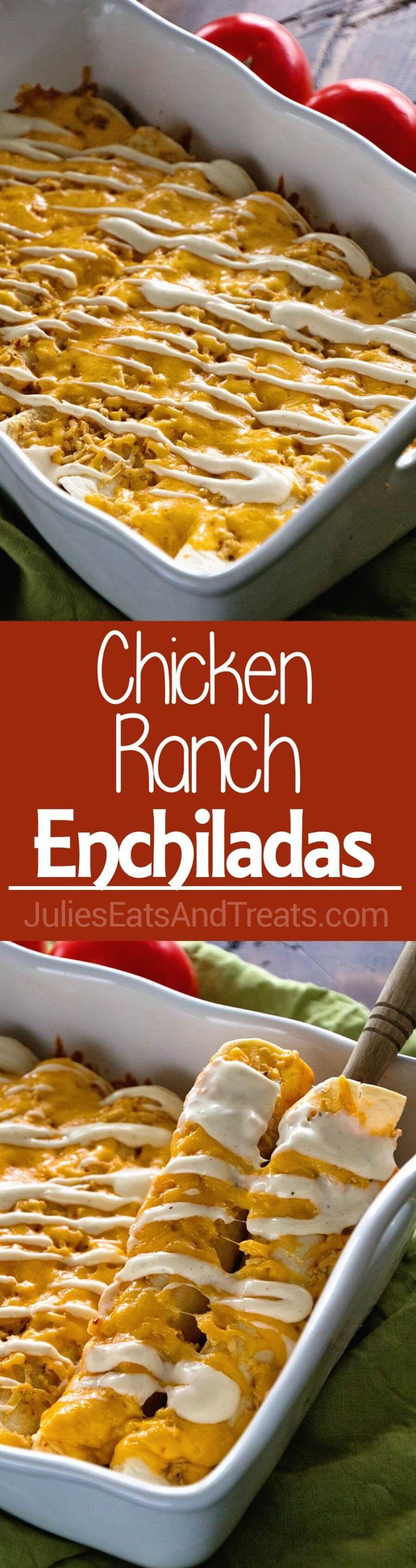 Chicken Ranch Enchiladas ~ Jazz Up Your Weeknight Dinner Enchiladas with a Ranch…