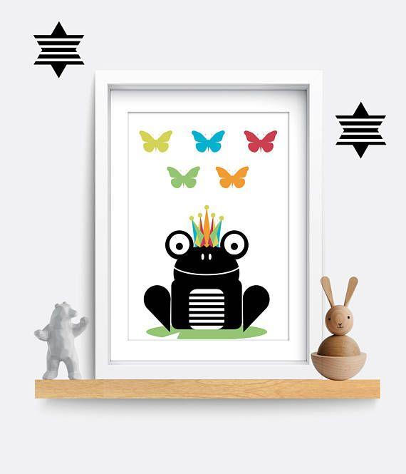 Frog nursery print. Frog Nursery Decor. Frog Print. Frog art. Nursery wall art. Frog wall art. Gift for girl. Animal Print