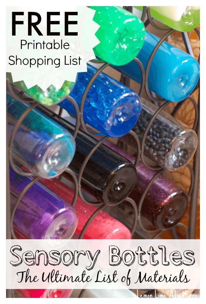 Sensory Bottle Shopping List