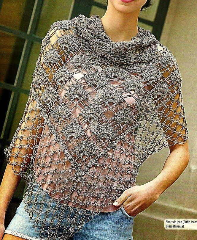 Chal Foulard punto abanico crochet - Patrones Crochet