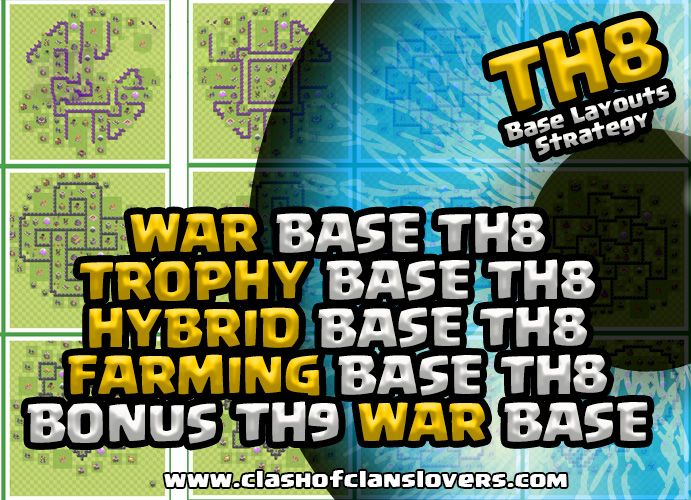 TH8 War |Trophy |Farming & Hybrid Bases Layouts!  #COCBASESLAYOUTS #COCLAYOUTS #TH8BASES #BESTTH8BASES #TH8WARBASES #TH8FARMINGBASES #TH8HYBRIDBASES #TH8TROPHYBASES #CLASHOFCLANSLOVER.COM #NEWTH7