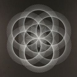 'Flower of Life' One colour screen print, overlaying a single stencil 14 times to build a singler flower of life.
