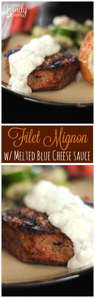 This filet mignon with melted blue cheese is tender, juicy, and full of flavor. The blue cheese sauce is smooth, tangy, and pairs perfectly with the filet! via @favfamilyrecipz