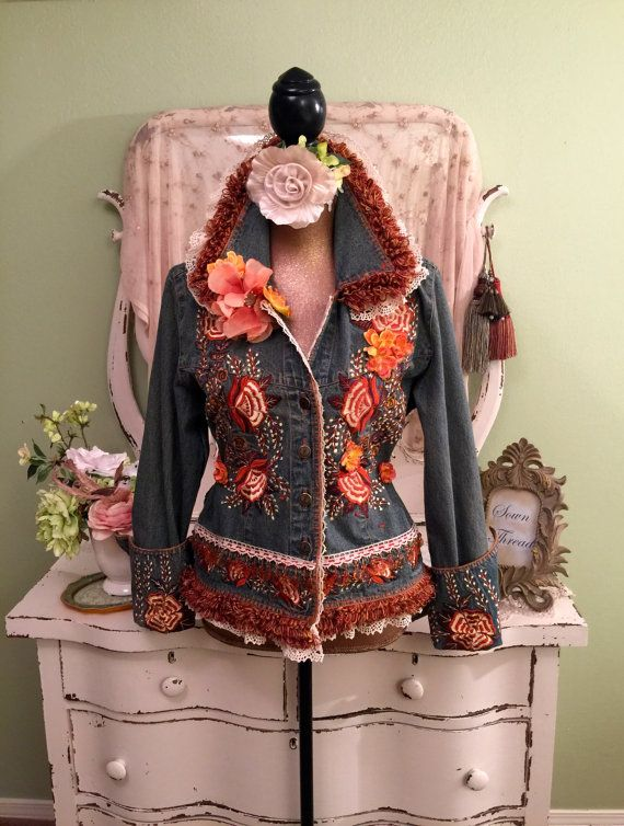 Ornate Hippie Jacket Beaded Gypsy Coat Art by SownThreadsClothing