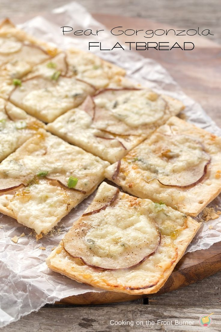 The tanginess of gorgonzola cheese with sweetness of pear and fig jam.  A great appetizer pizza!