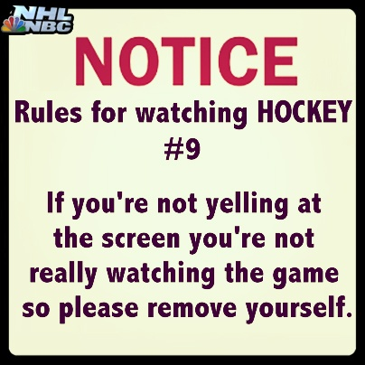 #HockeyRule #9: If you're not yelling at the screen you're not really watching the game